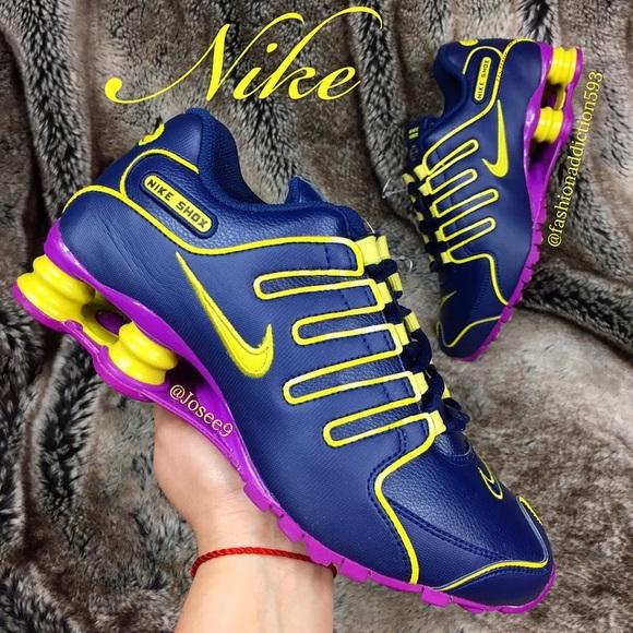 pretty nice f76de a1b86 Nike SHOX NZ Women s Navy Blue purple yellow shoes